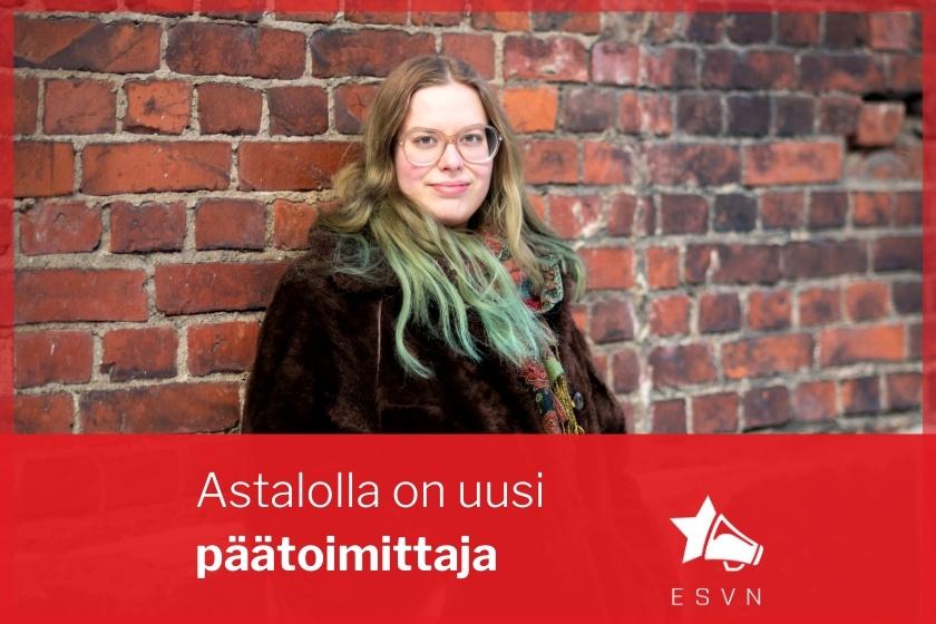 """Kuvassa Pinja Vuorinen ja teksti """"Astalolle valittu uusi päätoimittaja"""""""