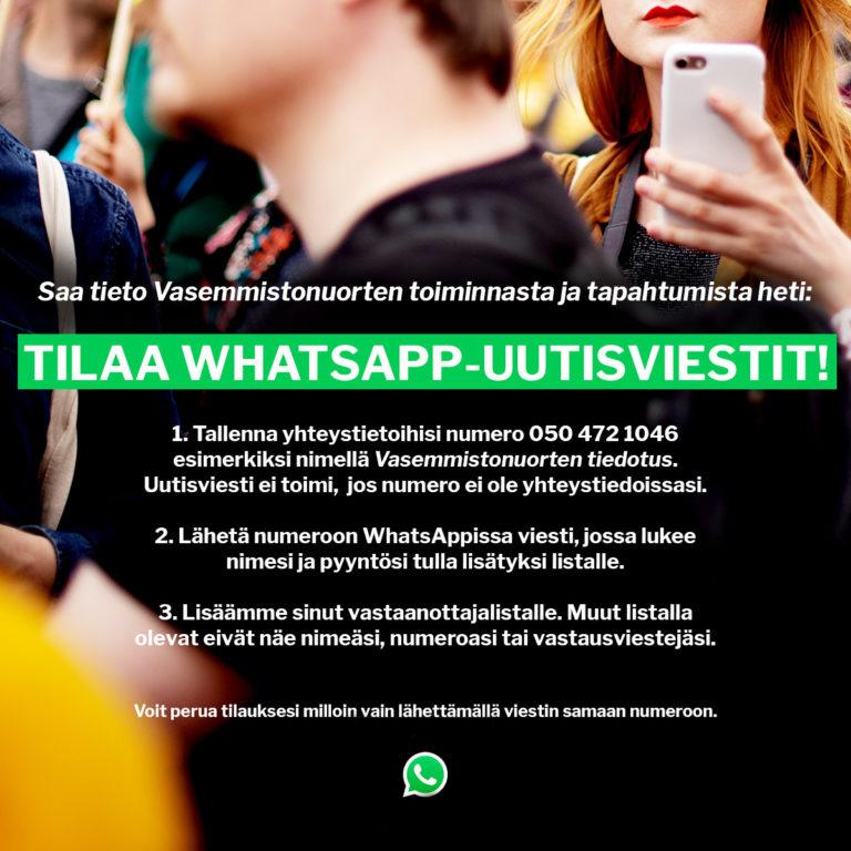 Mainos Vasemmistonuorten WhatsApp-uutistisviestistä.