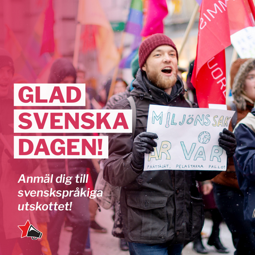 """Teksti """"Glad Svenska dagen! Anmäl dig til svenskspråkiga utskottet!"""
