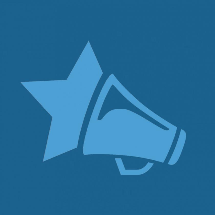 Vasemmistonuorten logo vaaleansinisenä sinisellä taustalla