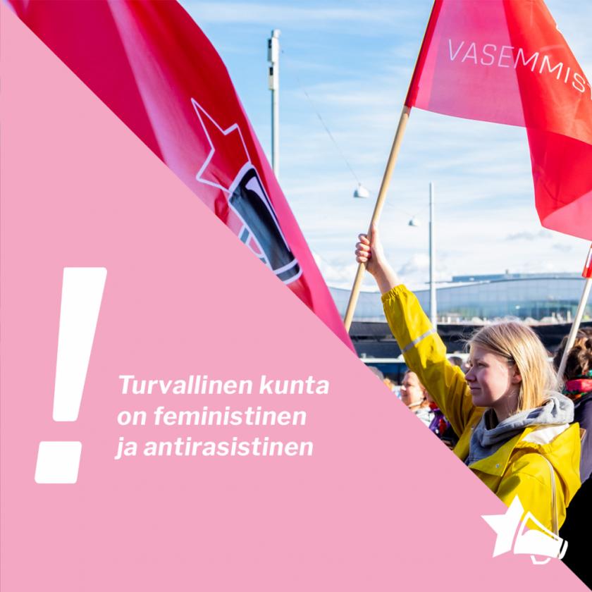 kuvassa otsikon teksti ja taustalla lippua nostava vasemmistonuori