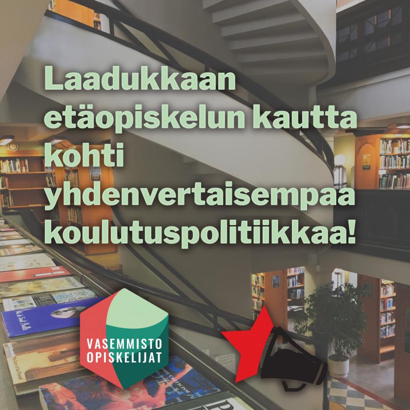 Kuva kirjastosta sekä Vanun ja Vasopin logot