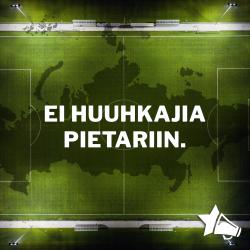 Vihreä jalkapallokenttä taustalla ja etualalla otsikon teksti