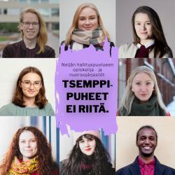 kuvassa kollaasi 7 nuoriso- tai opiskelijajärjestön puheenjohtajasta
