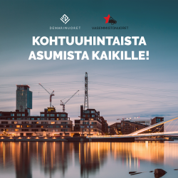 kuvassa kaupungin siluetti ja otsikko: Kohtuuhintaista asumista kaikille
