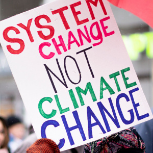 "Mielenosoituskyltti, jossa lukee ""System change, not climate change"""