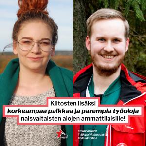 Ikonen ja Karau hymyilevät kameralle, kuvien pälle taitettu otsikon teksti.