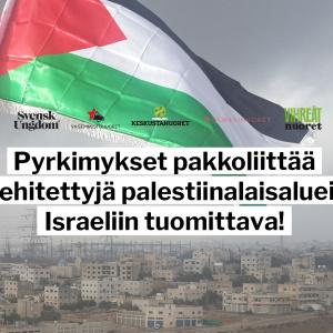 Palestiinan lippu liehuu tuulessa, taustalla taloja. Kannanoton otsikko taitettu tekstinä kuvaan.