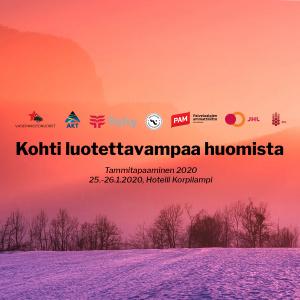 """Luontomaisema, mukana olevien ammattiliittojen logot ja teksti """"Kohti luotettavampaa huomista""""."""