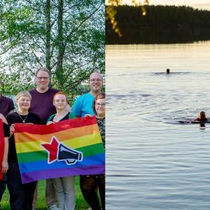 Kollaasi kesäisistä kuvista edelliseltä kesäleiriltä: yhteiskuva osallistujista, ihmisiä ui järvessä, leiriläiset istuvat Li Anderssonin ympärillä nurmikolla, aurinkoista metsää.