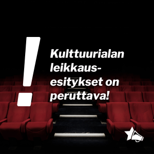 Kuva elokuvateatterista ja otsikon teksti päällä