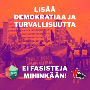 kuvassa mielenosoituskulkue Helsinki Ilman Natseja -banderollin kanssa.