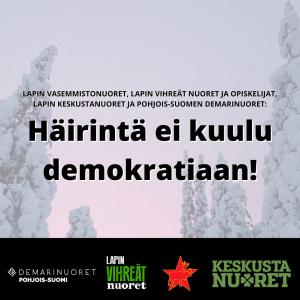 Otsikko keskellä, taustalla lumisia kuusia ja alareunassa kannanoton kirjottaneiden poliittisten nuorisojärjestöjen logot