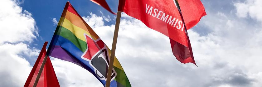 Vasemmistonuorten lippuja liehuu auringossa.