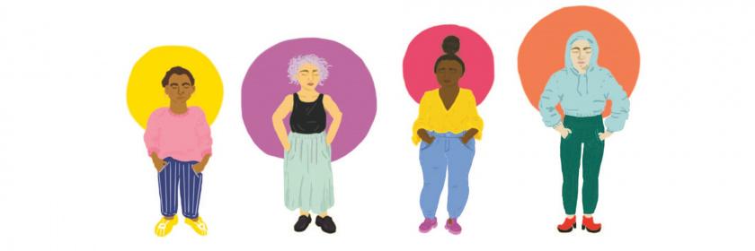 Kuvitus, neljä henkilöä joilla jokaisella eri värinen sädekehä
