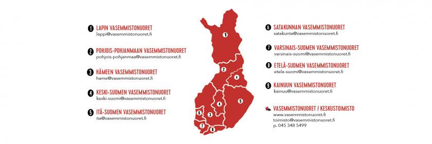 Punainen Suomen kartta, johon on merkitty Vasemmistonuorten piirien alueet.
