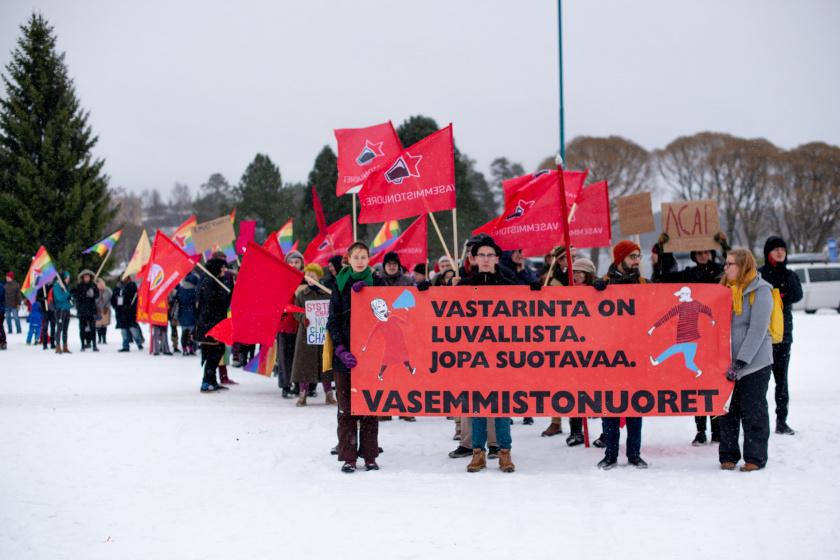 Kuva: Mielenosoitus liittarissa Kainuussa
